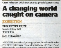 Evening Standard gives Prix Pictet 5 Star Review